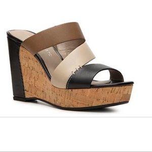 Franco Sarto Reward Leather Cork Wedge Sandals